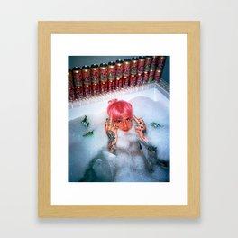 Lil Peep pink hair bath fuck Framed Art Print