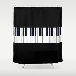 Piano Keys - Black and white simple piano keys pattern minimalistic music themed artwork Shower Curtain