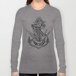 Anchor Swallow & Rose Old School Tattoo Style Long Sleeve T-shirt