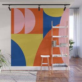 Bold Modern Bauhaus Shapes in Red, Pink, Blue, and Yellow Wall Mural