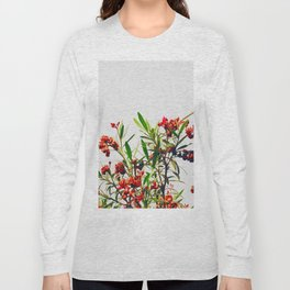 Minimal Red & Green Floral (Color) Long Sleeve T-shirt