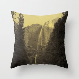 Yosemite Falls Tin Yellow Throw Pillow