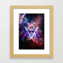Galaxy cat Framed Art Print