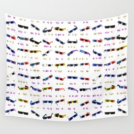 3D Movie Glasses pattern Wall Tapestry