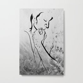 """Embrace"" - Couple in Black and White Metal Print"