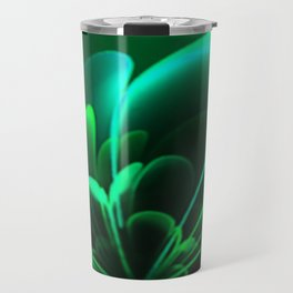 Stylized Half Flower Green Travel Mug
