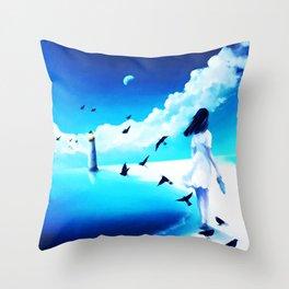 Lighthouse At The Sea Throw Pillow