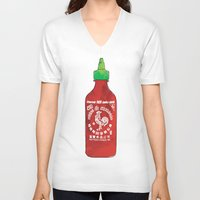sriracha V-neck T-shirts featuring HOT SAUCE by RUMOKO x Vintage Cheddar