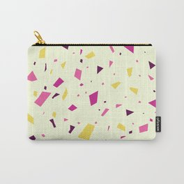 Warm Summer Terrazzo Pattern - Lemon and Strawberries Granite Marble Carry-All Pouch