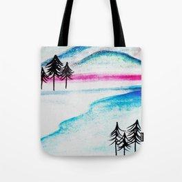 Watercolor blue landscape Tote Bag