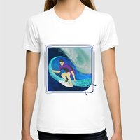 surfing T-shirts featuring Surfing  by Aquamarine Studio