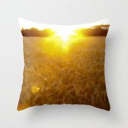 Wheat field at dawn Throw Pillow