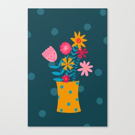 Spotty Flowers Canvas Print