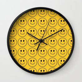 Smiley Face Pattern - Super Yellow Variant Wall Clock