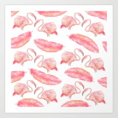Flamingo Feather Art Pattern Art Print