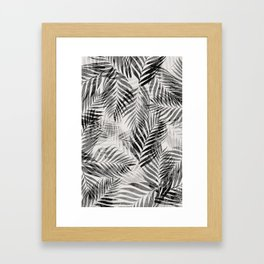 Palm Leaves - Black & White Framed Art Print