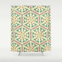 rockabilly Shower Curtains featuring Rockabilly pattern vintage style by muchö