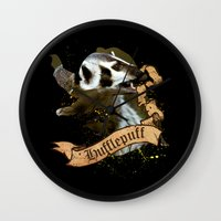 hufflepuff Wall Clocks featuring Hufflepuff by Markusian