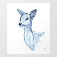 Portrait of a Doe in Blue Art Print