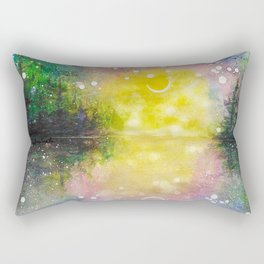 Crescent Moon Reflection Galaxy watercolor by CheyAnne Sexton Rectangular Pillow