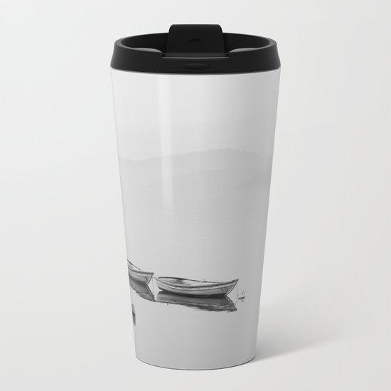 Small boat lake black white Metal Travel Mug