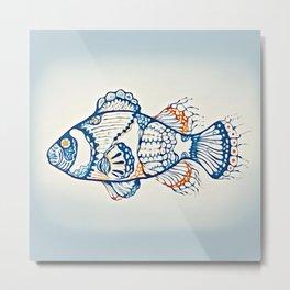 BLUE FISH Digital Painting Metal Print