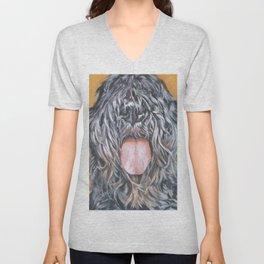 Bouvier Des Flandres dog portrait from an original fine art painting by L.A.Shepard Unisex V-Neck