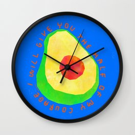 Let's Share Our Courage - Avocado Illustration Vegetable Vegan Colorful Humor Motivation Wall Clock