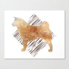 Modern Akita Dog Watercolor Stripes Canvas Print