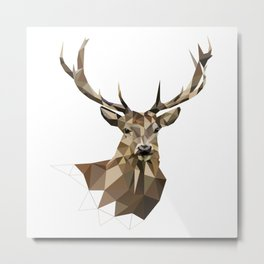 Geometric deer Woodland art Forest animals Brown and gray Metal Print