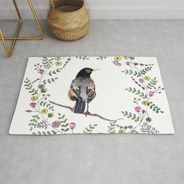 American Robin With Whimsical Flower Wreath Rug