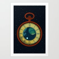 pocket Art Prints featuring Cosmic Pocket Watch by badOdds