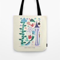 once upon a  time Tote Bags featuring Once Upon a Time by Abbie Imagine