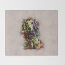 Dachshund Puppy Sketch Paint Throw Blanket