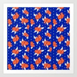 Florida fan gators university orange and blue team spirit football college sports florals Art Print