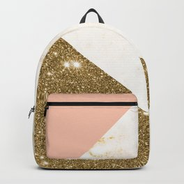 Gold marble collage Backpack