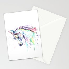 Colorful Unicorn Watercolor Painting - Kenzie's Unicorn Stationery Cards