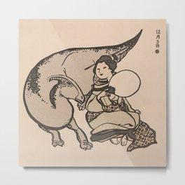 Geisha & Hadrosaure Metal Print