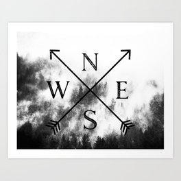 Foggy Forest Compass Art Print