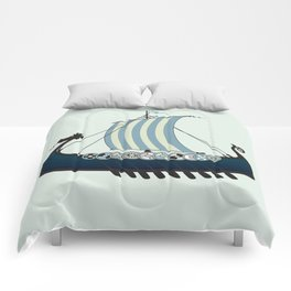 Blue viking ship Comforters