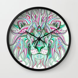 Sea Green Ethnic Lion Wall Clock