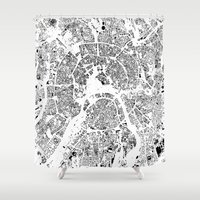 moscow Shower Curtains featuring Moscow Map Schwarzplan Only Buildings by City Art Posters