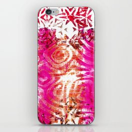 Pink, gold and red ghost print iPhone Skin