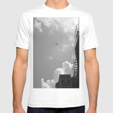 Leaving On A Jet Plane ~ black and white SMALL White Mens Fitted Tee