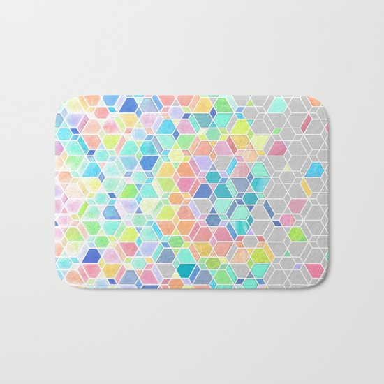 Rainbow Cubes & Diamonds Bath Mat