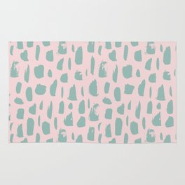 Handdrawn mint drops and dots on pink -Mix & Match with Simplicty of life Rug