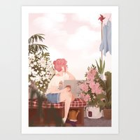 Art Prints featuring Mona by punziella
