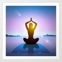 Yoga Studio Calming Purple / Blue Sukhasana Pose Art Print