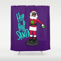 hip hop Shower Curtains featuring Hip Hop Santa by Chelsea Herrick