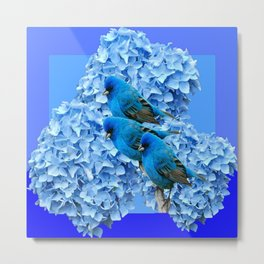 3 BLUE BIRDS & BLUE HYDRANGEAS ART Metal Print